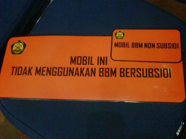 Program Penghematan BBM, Mobil Dinas Gunakan Stiker BBM Non Subsidi